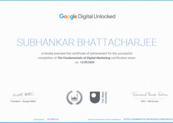 Subhankar Bhattacharjee A Digital Markeing Coach of BDN Groups, Got certified by Google.